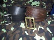 Ремень офицерский кожаный (черный коричневый белый)