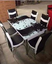 Стіл кухонний (калене скло) + шість стільців (хромований алюміній)